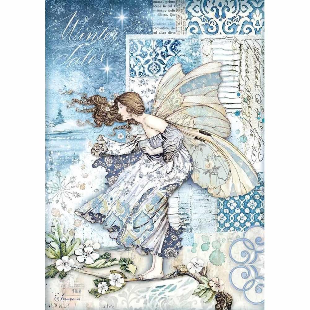 Stamperia Winter Tails  Fairy in the Wind  A4  Rice Paper (DFSA4488)