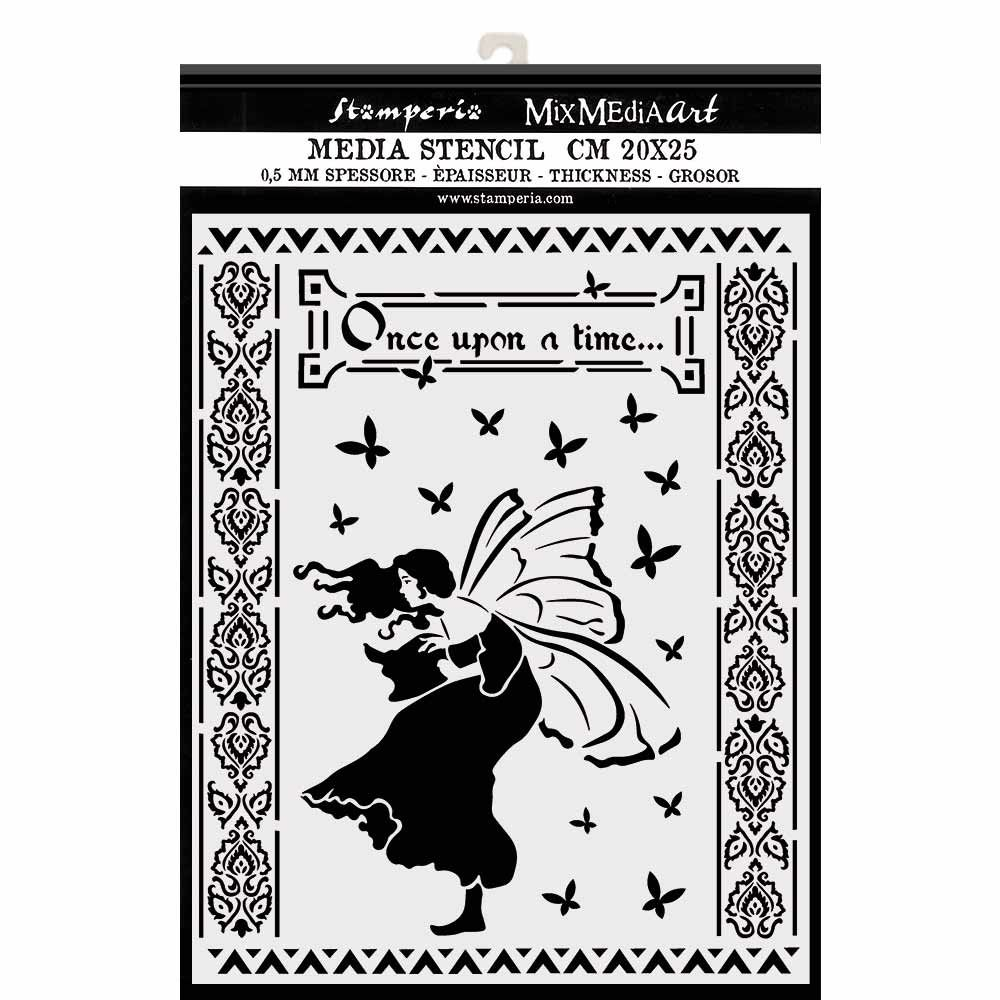 Stamperia Winter Tails Thick Stencil Once Upon A Time (KSTD051)