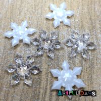 Acrylic Clear & White 3D Snowflakes