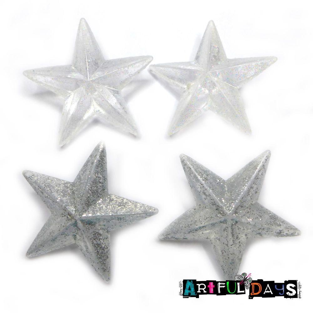 Iridescent & Silver 3D Christmas Stars