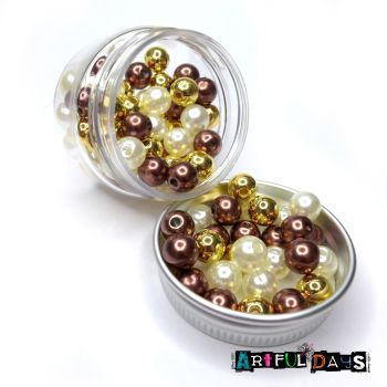 Triple Tone Pearl Bead Pots - Glamour