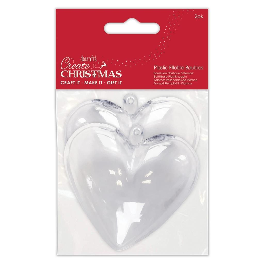 Papermania Plastic Fillable Baubles 2 Hearts (PMA 105979)
