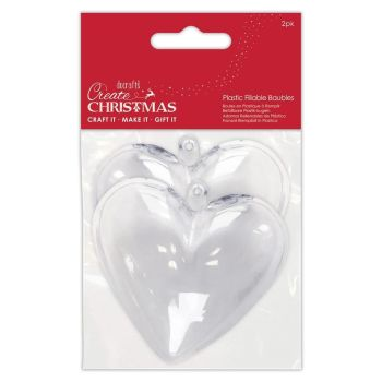 Papermania Plastic Fillable Baubles 2 Hearts (PMA 105979)