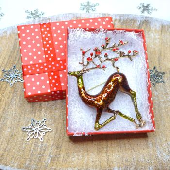 Stunning Reindeer Brooch - Rusty Red & Gold
