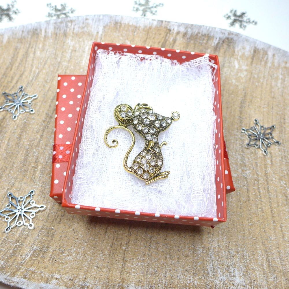 Sparkling Mouse Brooch, Christmas Gift