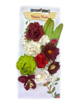 Christmas Mulberry Paper Flowers, Leaves & Stems - Coordinated Traditional Colours