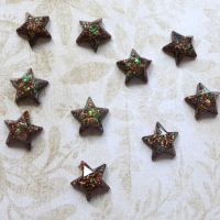 Dark Brown Vintage Gold Bling Resin Stars (CA3040)