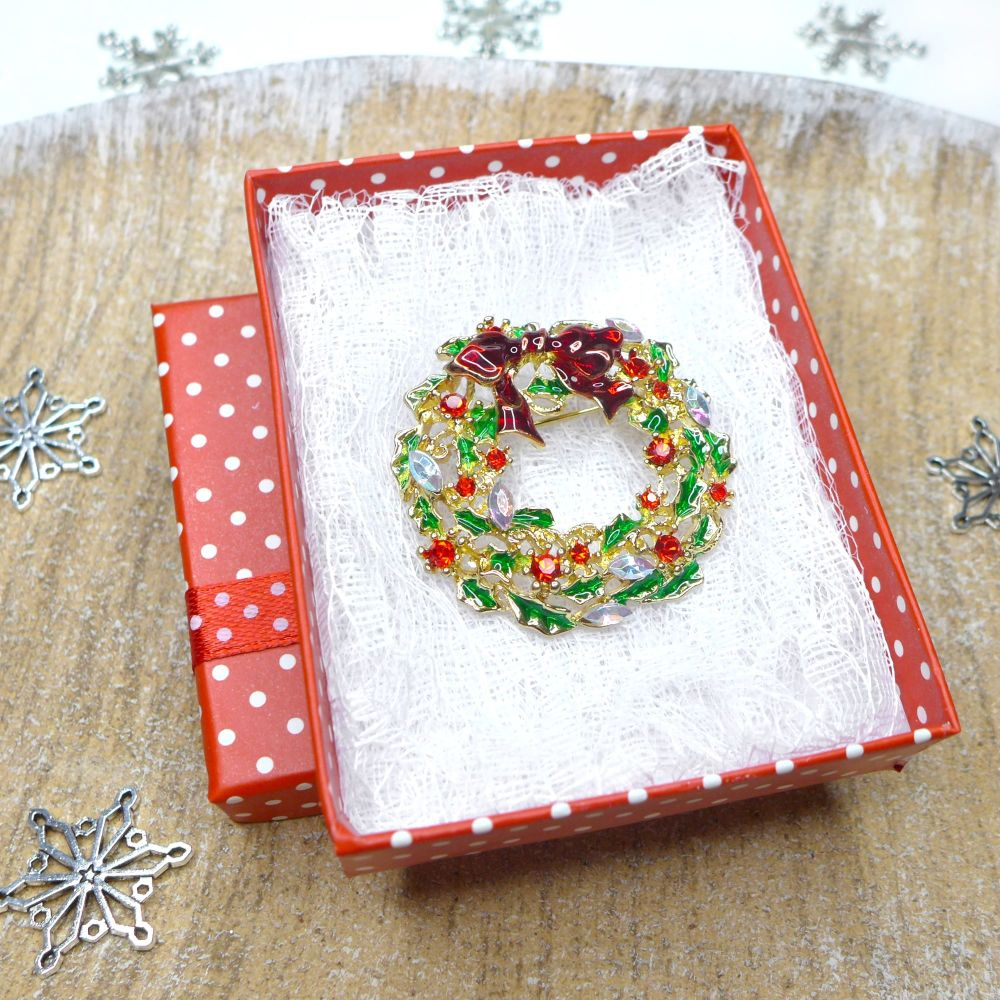 Classic Christmas Wreath Brooch, Christmas Gift