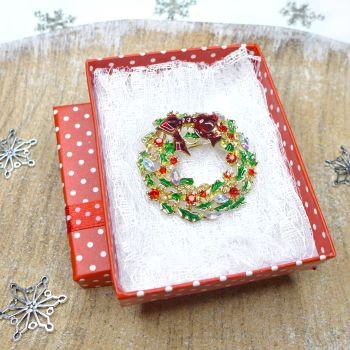 Classic Christmas Wreath Brooch, Christmas Gift