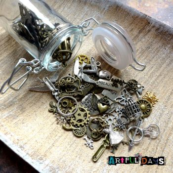 Jar of Assorted Craft Charms - Great Gift