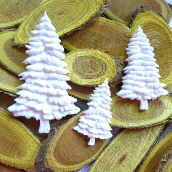 White Resin Christmas Tree Trio