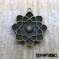 Bronze Lotus Flower Charm (C029)