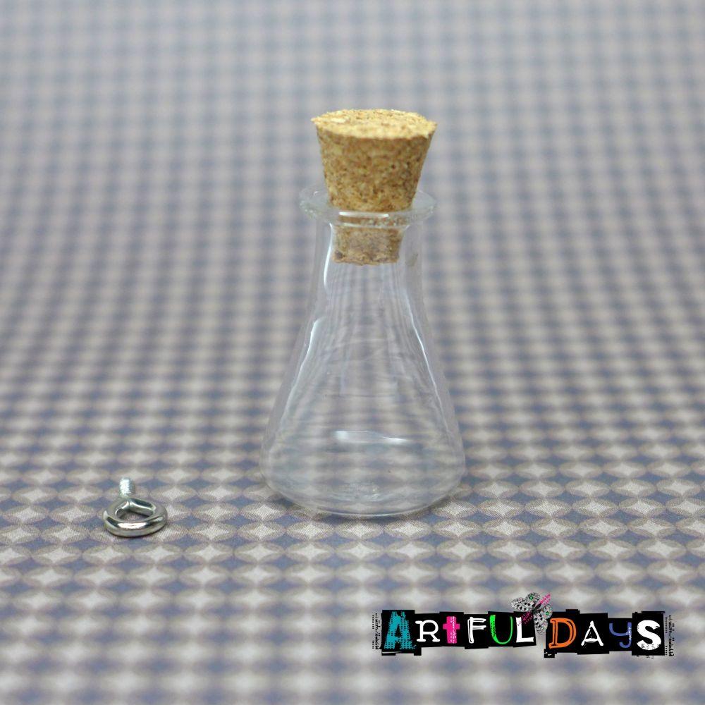 Hanging Glass Flask Shape Vial - 22mm (GL010)