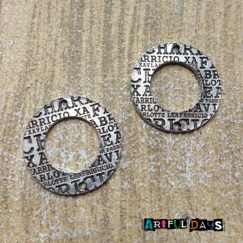 Silver Letter Circle Charms (C055)
