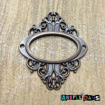 Aged Copper Decorative Oval Frame (C081)