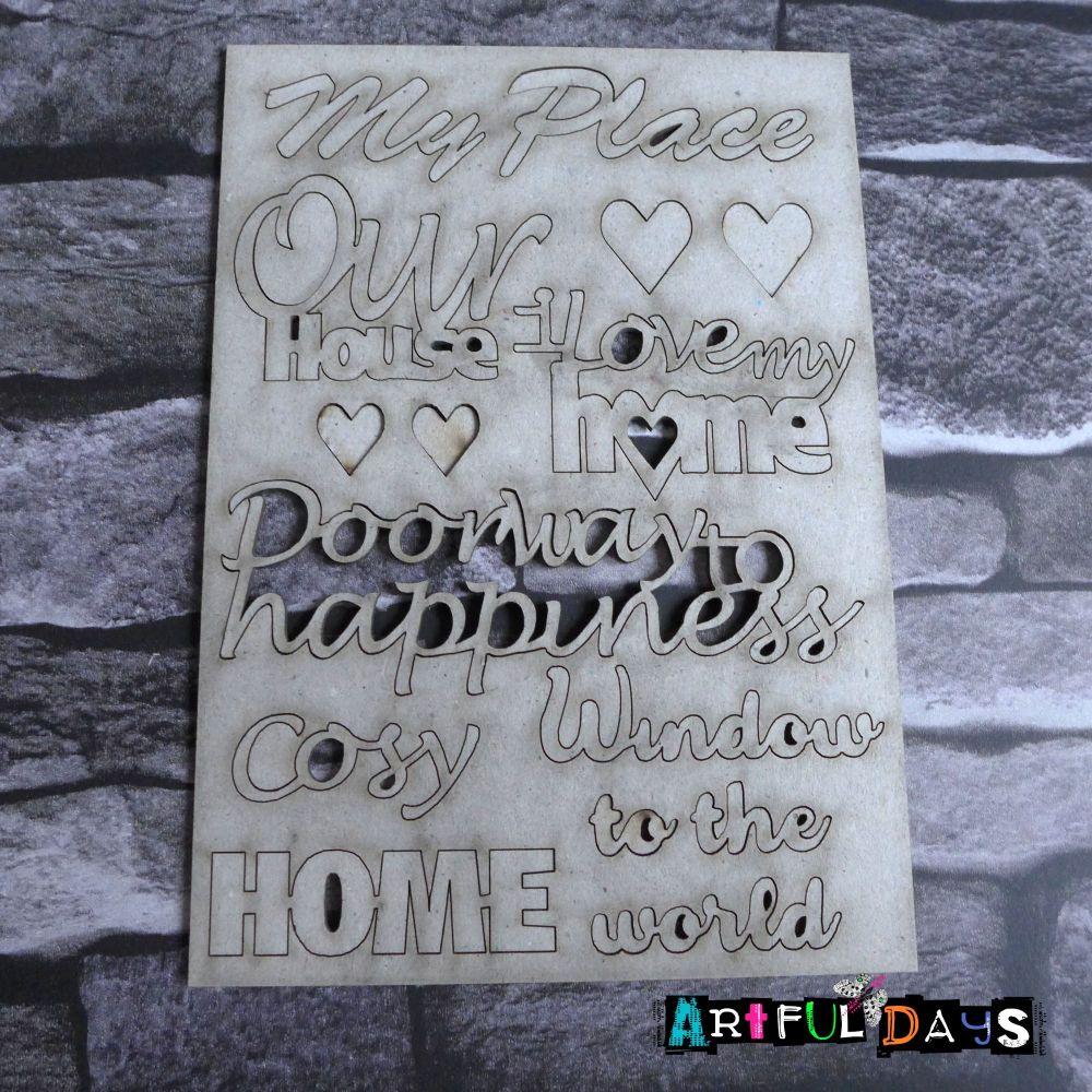 Artful Days MDF - House, Grey board Words (ADM058)