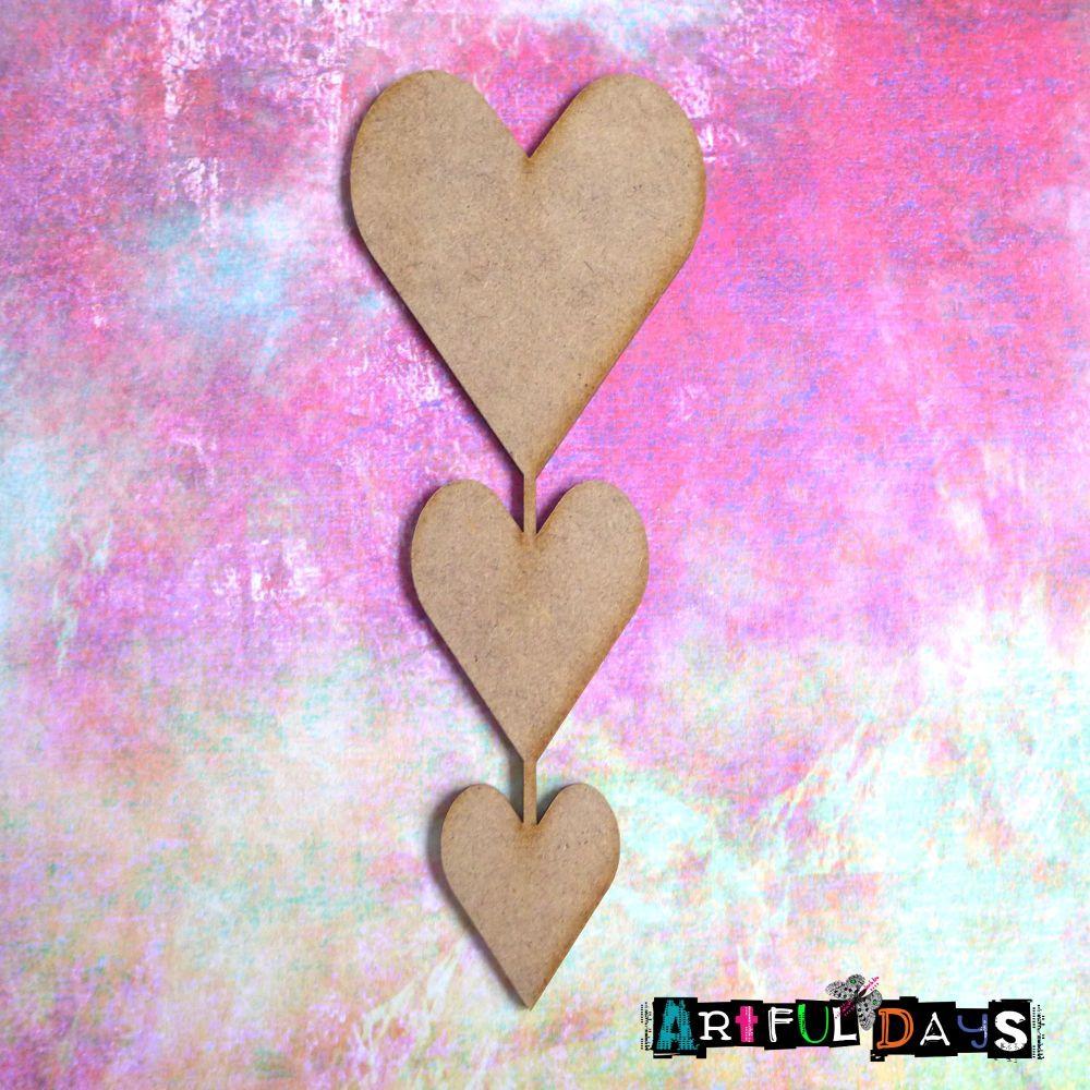 Artful Days MDF - Love, Heart Trio (ADM063)