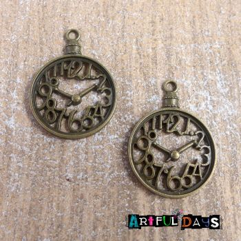 Bronze Funky Clock Charms (C059)
