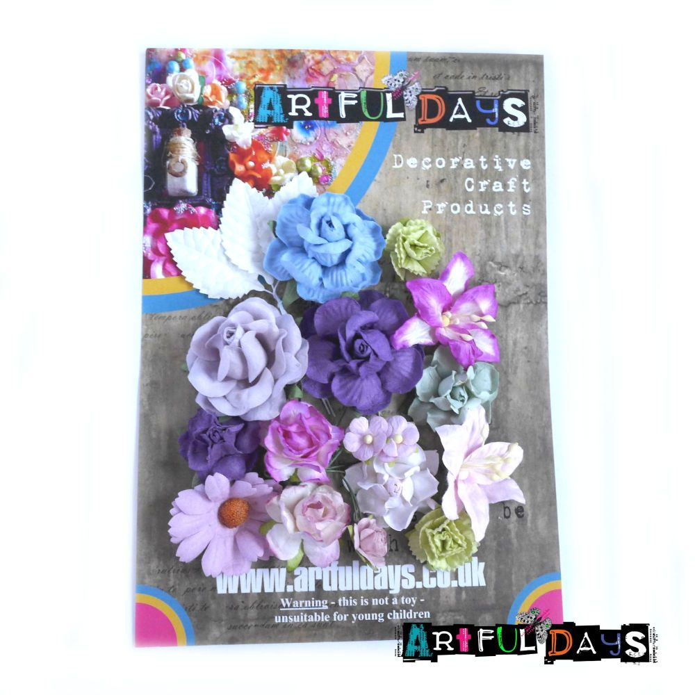 Christmas Mulberry Paper Flowers, Leaves & Stems - Coordinated Traditional