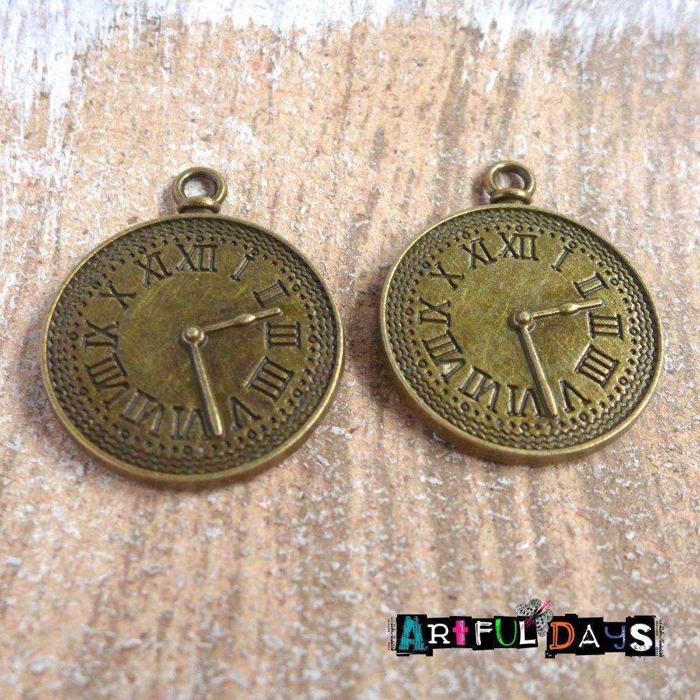 Pair of Bronze Pocket Watch Charms (C083)