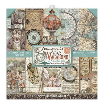 """Stamperia Sir Vagabond 12 x 12"""" Double sided Scrapbooking Papers"""