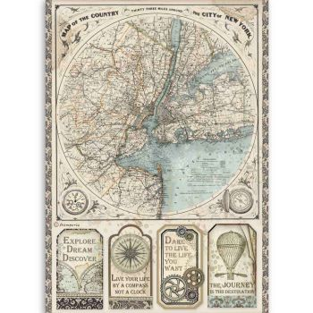 Stamperia Sir Vagabond Map of New York  A4  Rice Paper (DFSA4515)