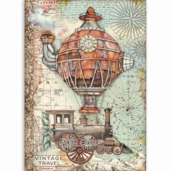 Stamperia Sir Vagabond Vintage Travel A4  Rice Paper  (DFSA4517)