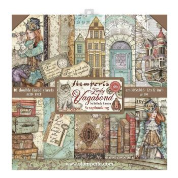 """Stamperia Lady Vagabond 12 x 12"""" Double sided Scrapbooking Papers (SBBL82)"""