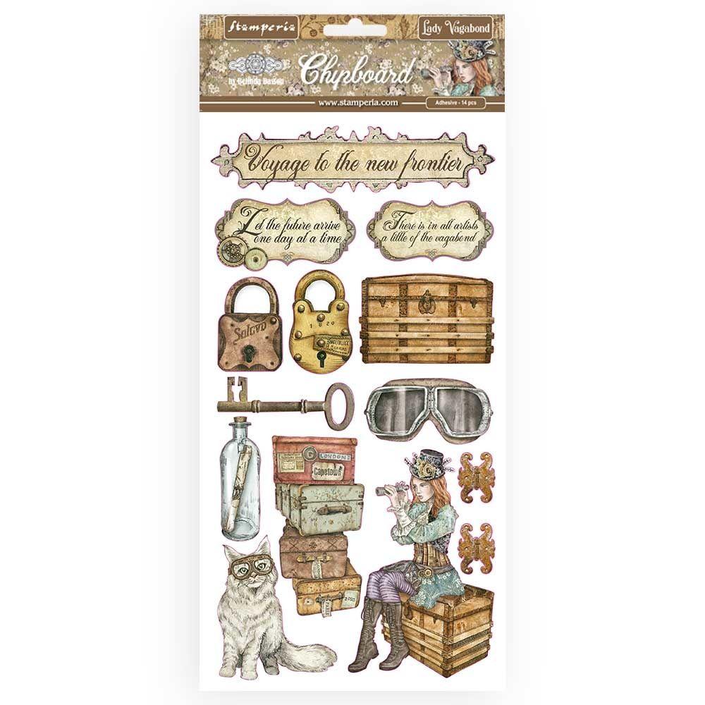 Stamperia Alice Gold Chipboards (DFLCB12G)