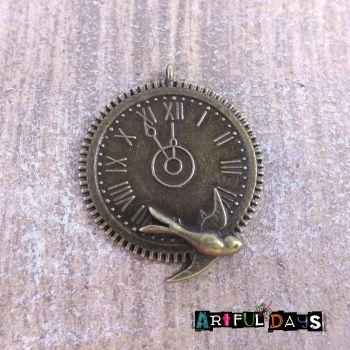 Bronze Clock & Bird Charm (C162)