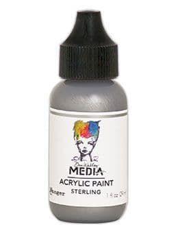 Dina Wakley Metallic Media Acrylic Paints 1oz - Sterling