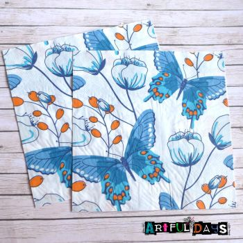 Paper Napkins - Blue Butterflies (PN010)