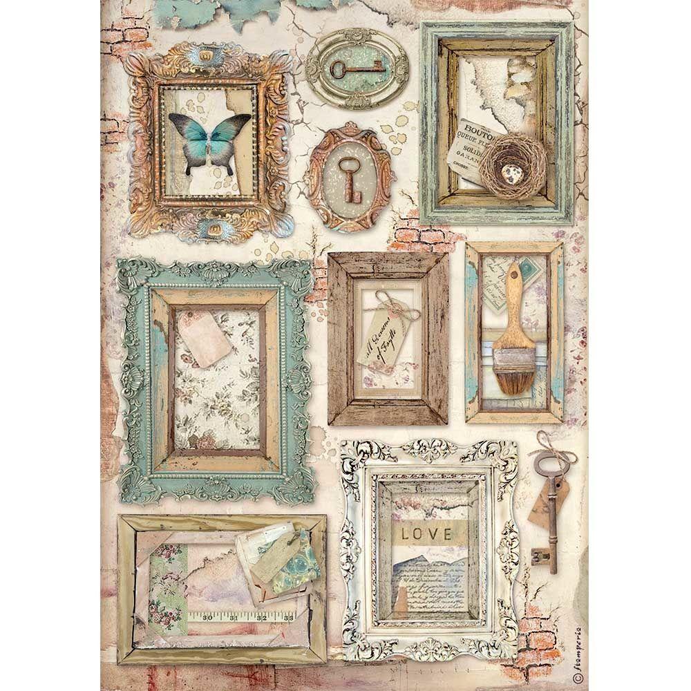 Stamperia Atelier des Arts A4  Rice Paper Atelier Frames (DFSA4548)
