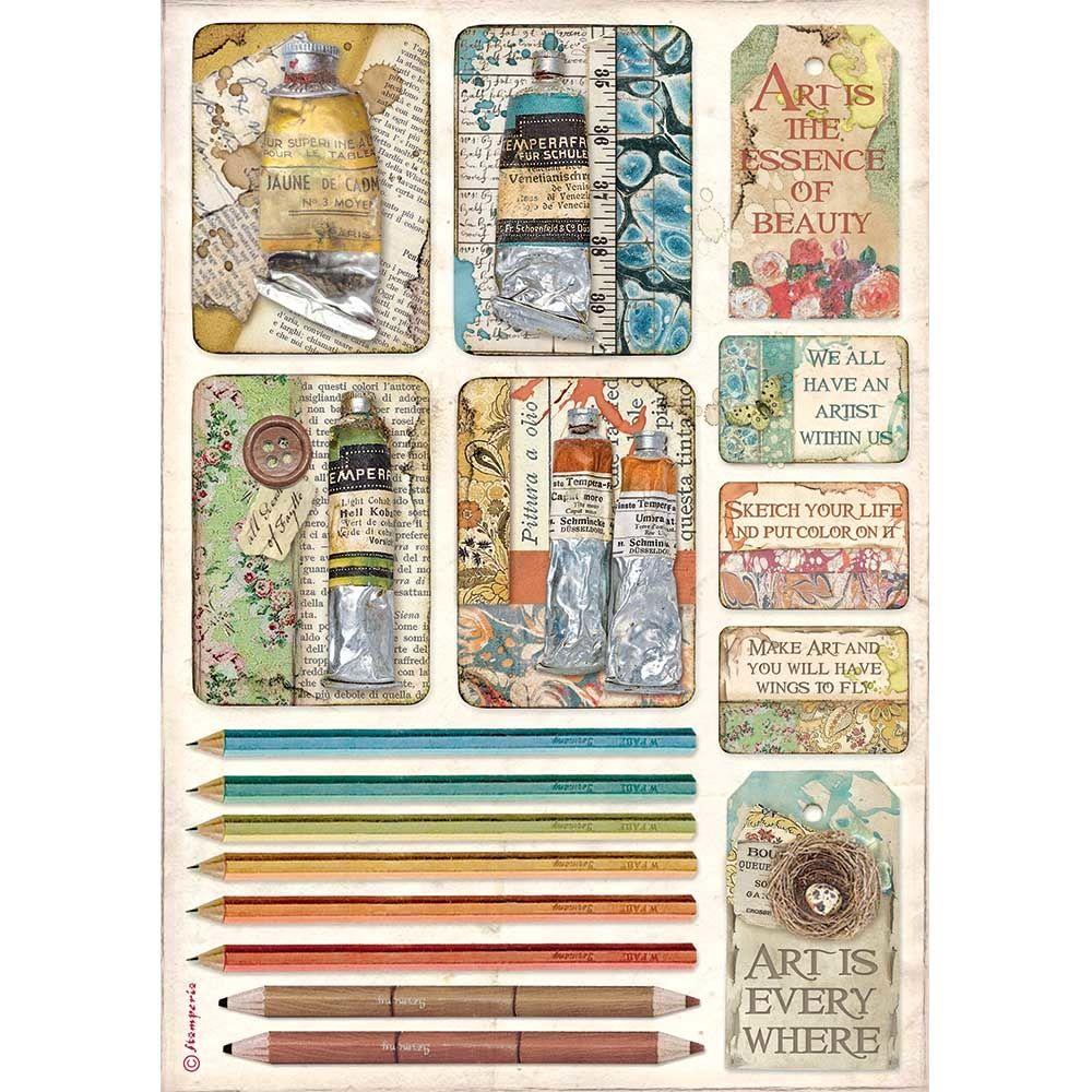 Stamperia Atelier des Arts A4  Rice Paper Tubes of Paints and Pencils (DFSA