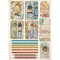 Stamperia Atelier des Arts A4  Rice Paper Tubes of Paints and Pencils (DFSA4550)
