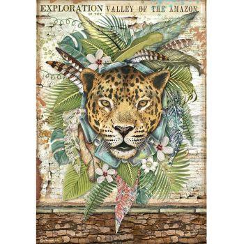 Stamperia Amazonia A4  Rice Paper Jaguar (DFSA4530)