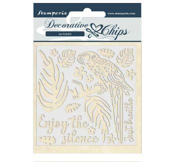 Stamperia Amazonia Decorative Chips Parrot (SCB41)