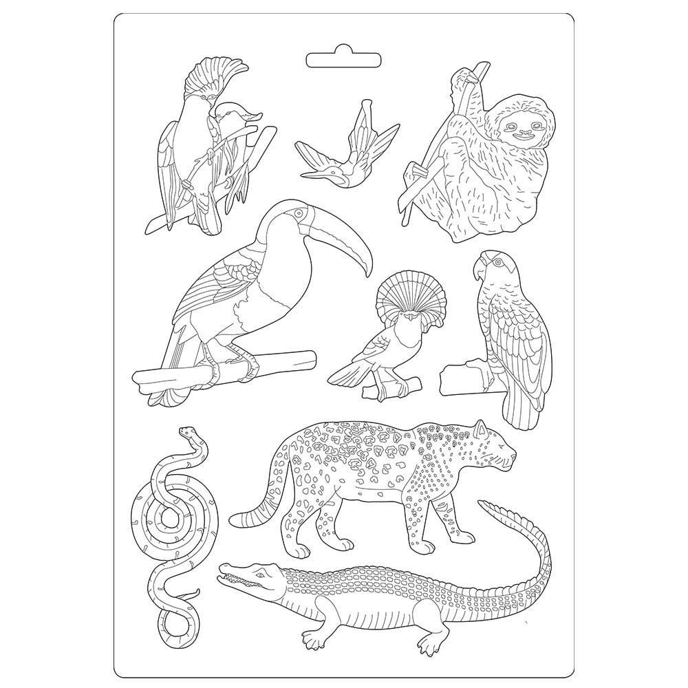 Stamperia Amazonia Soft Mould A4 Atelier Animals (K3PTA491)