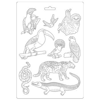 Stamperia Amazonia Soft Mould A4 Animals (K3PTA491)