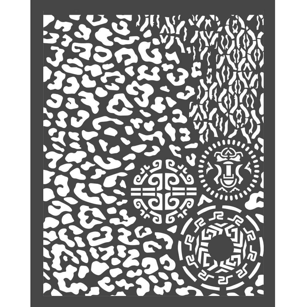 Stamperia Amazonia Thick Stencil 20x25cm Animalier with Tribals (KSTD062)