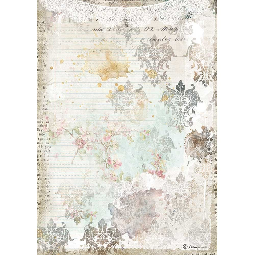 Stamperia Romantic Journal A4  Rice Paper Texture With Lace (DFSA4556)