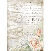 Stamperia Romantic Threads A4  Rice Paper Scissors and Roses (DFSA4565)