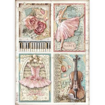 Stamperia Passion A4  Rice Paper  Cards (DFSA4542)