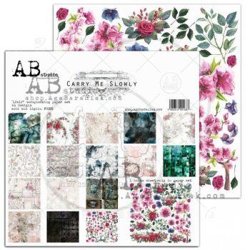 """Carry me slowly"" Scrapbooking Paper 12 x12"" + 1 Bonus Sheet Set"