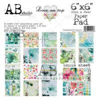"""Love on Top"" Scrapbooking Paper 6x6"" Pad, 25 Sheets + 1 Bonus Sheet Set"