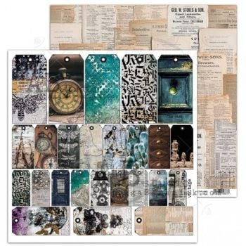 """""""Old dreams"""" Scrapbooking Paper 12 x12""""- sheet 7-Old dream tags"""