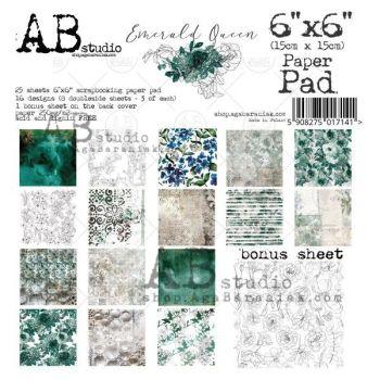 """""""Emerald Queen"""" Scrapbooking Paper 6x6"""" Pad, 25 Sheets + 1 Bonus Sheet Set"""