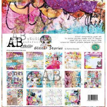 """By Tandiart """"Glitter Stories"""" Scrapbooking Paper 12 x12"""" 7 Sheet Set"""