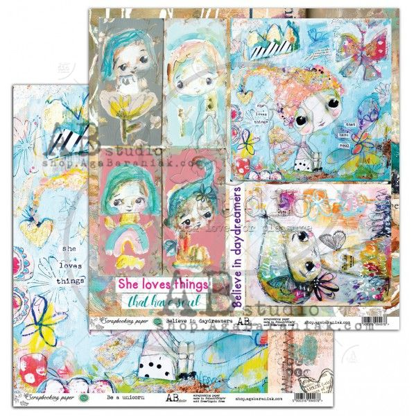 By Tandiart, Elements Scrapbooking Paper 12 x12 - Be a unicorn / Believe in