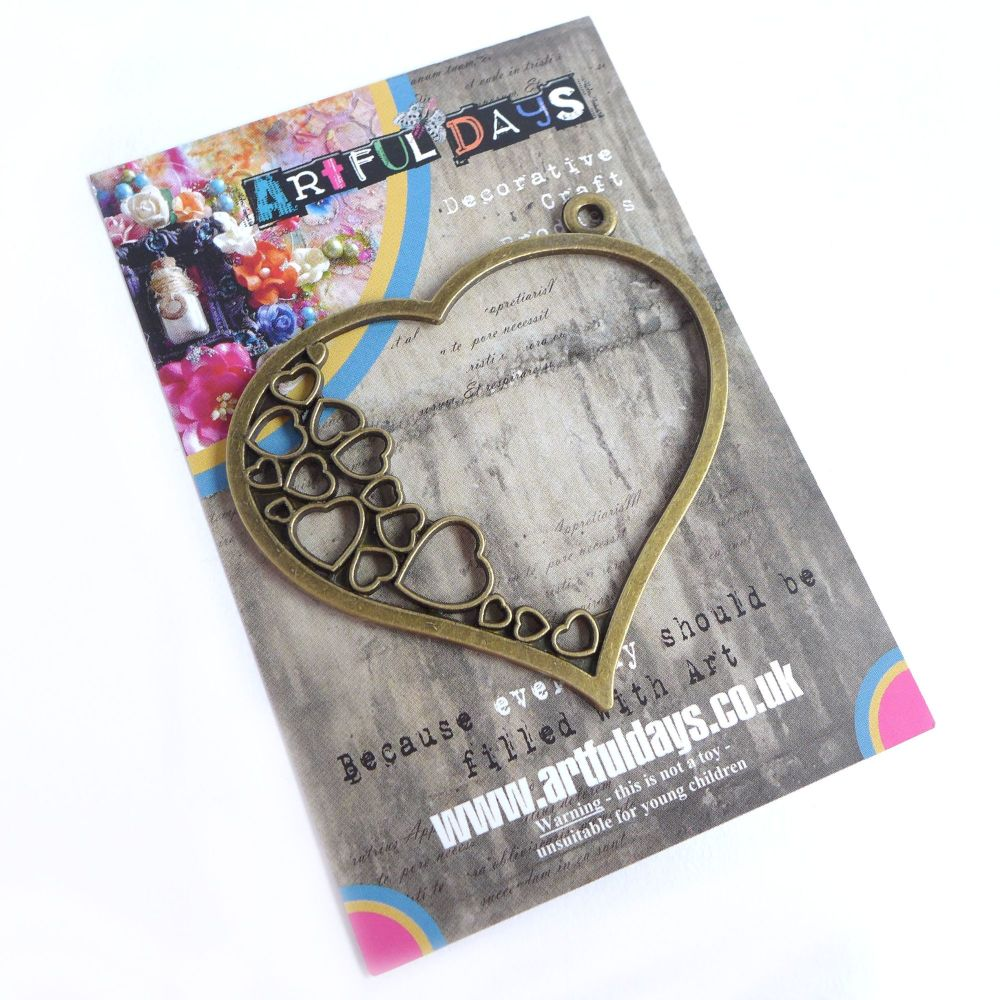 Treasured Artefacts Large Bronze Heart within a Heart (TA204)